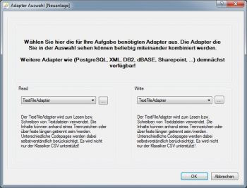 Hello World 1, Adapter Auswahl