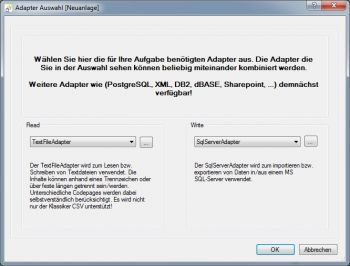SQL Server Adapter Auswahl