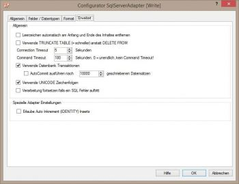 SQL Server Adapter - weitere Optionen