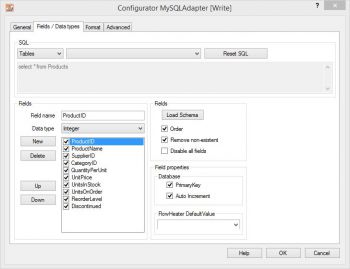 MySQL Adapter, fields and data types