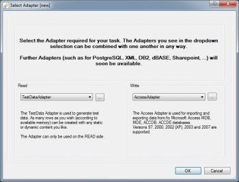 choose TestData and Access Adapter