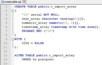 PostgreSQL Array Import - create table